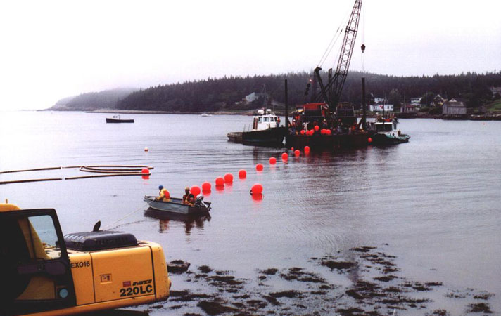 Cable Landing using Barge - Image by courtesy of Tyco Telecommunications